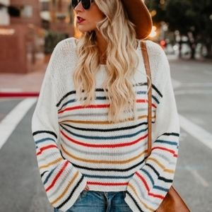SALE! New Rainbow Striped Slouchy Sweater